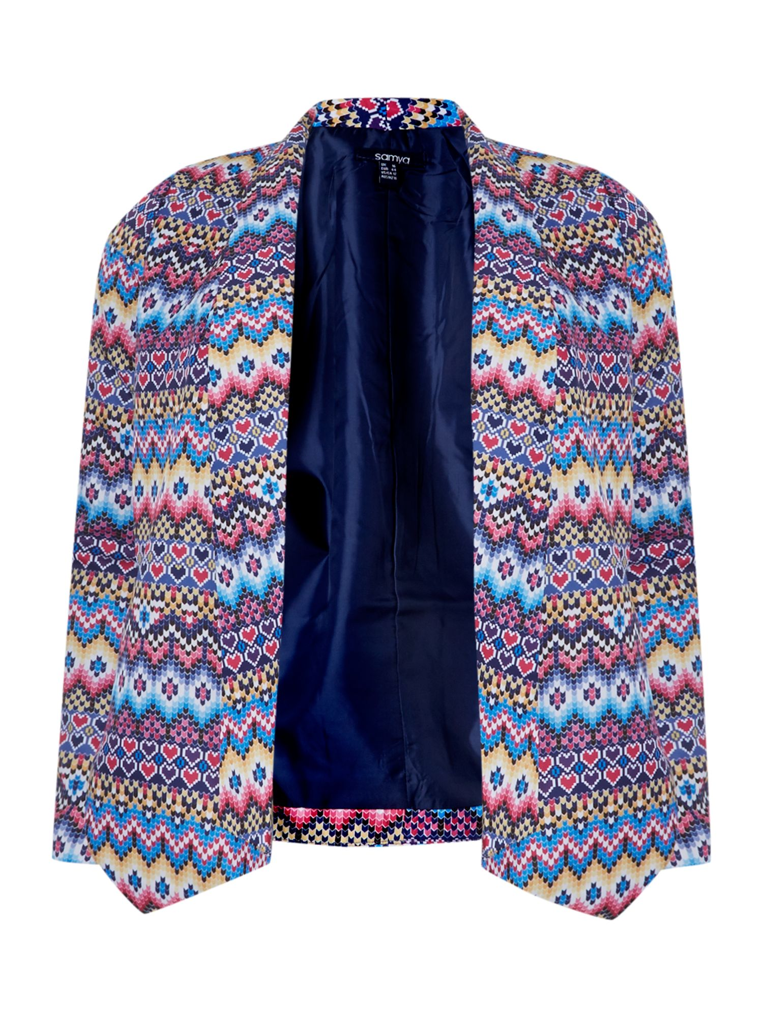 Multi pattern lapel jacket