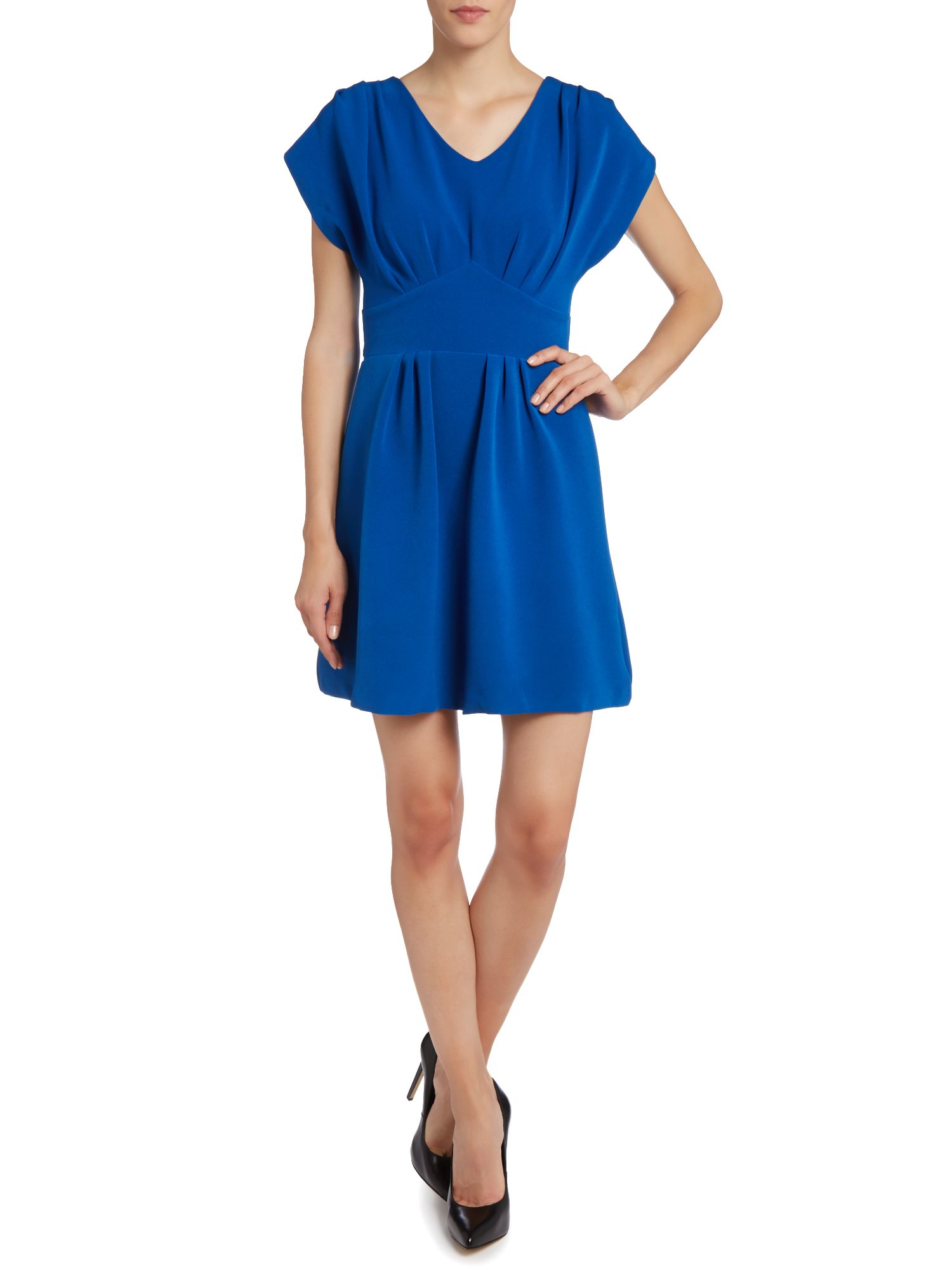Pleat v neck tie back dress