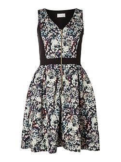 Print contrast zip front dress