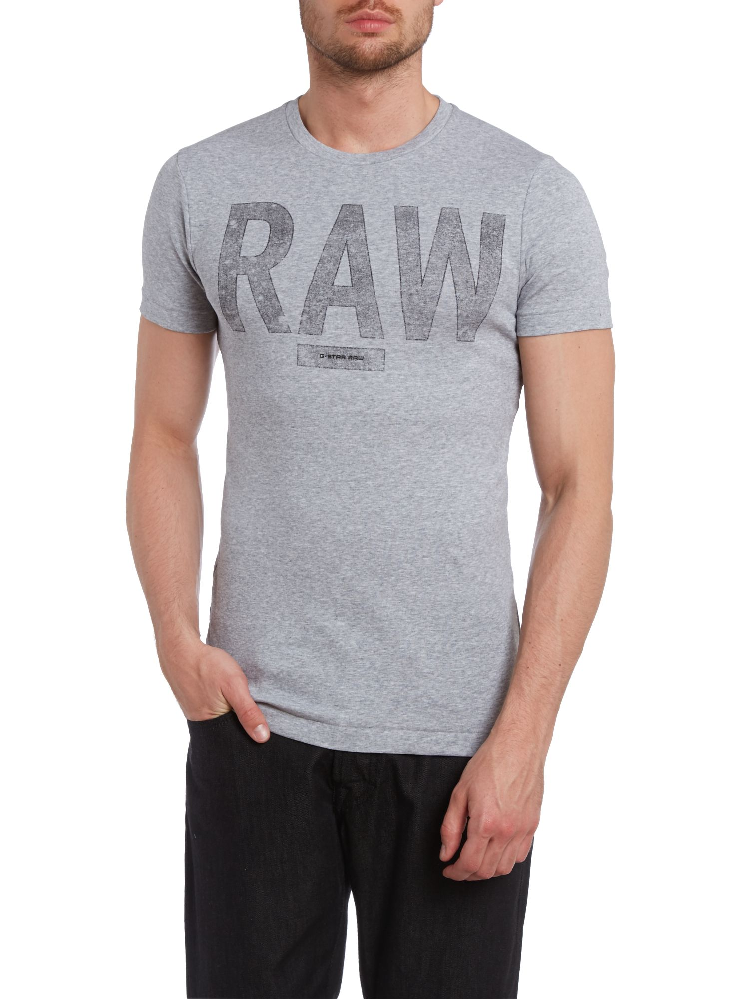 Raw marl printed t shirt