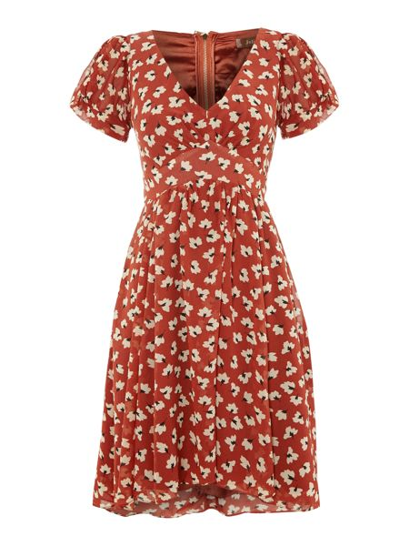 Jolie Moi Retro pattern printed tea dress