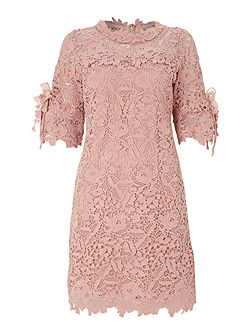Crocheted lace flare sleeve tunic