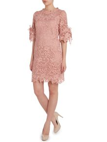 Jolie Moi Crocheted lace flare sleeve tunic
