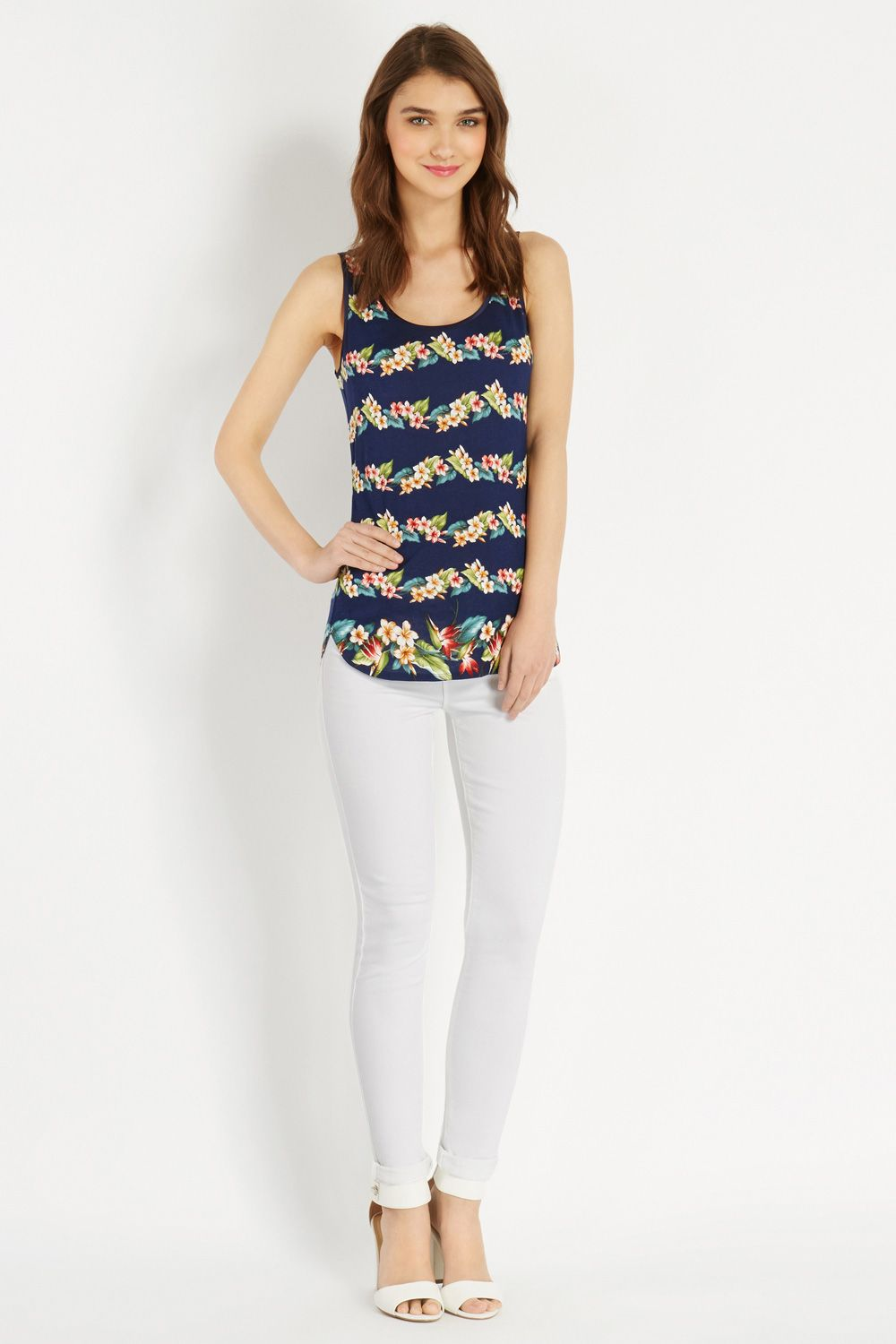 Tropical stripe vest top