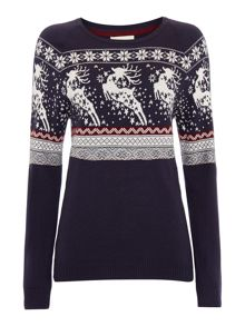 Novelty prancing reindeer knitted jumper