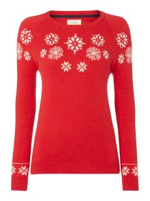 Novelty snowflake intarsia knitted jumper
