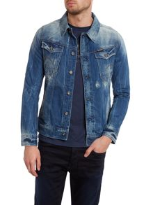 Distressed structured denim jacket