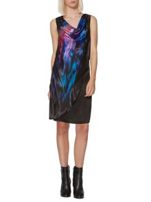 Printed hammered satin dress