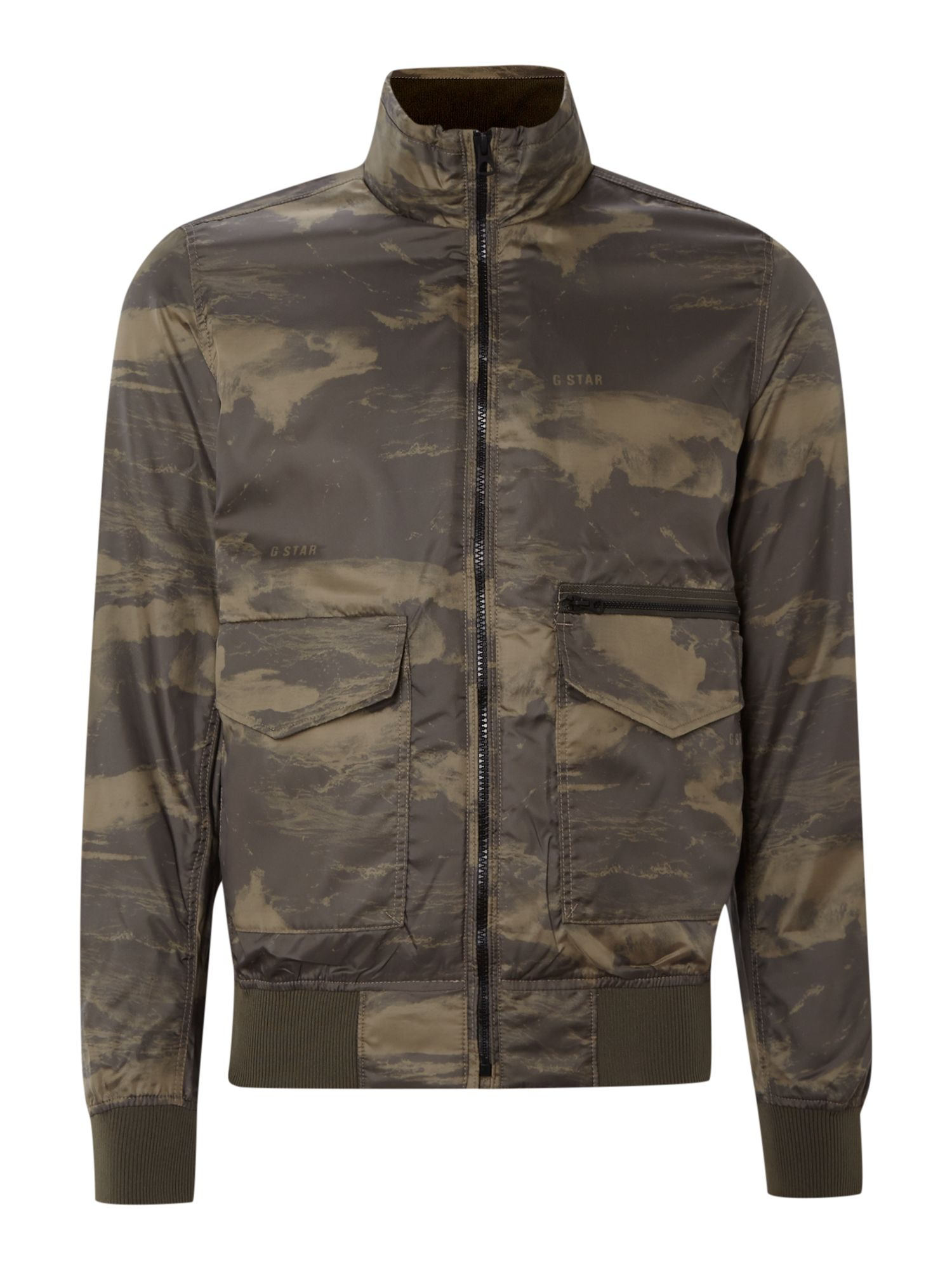 Camo print funnel neck bomber jacket