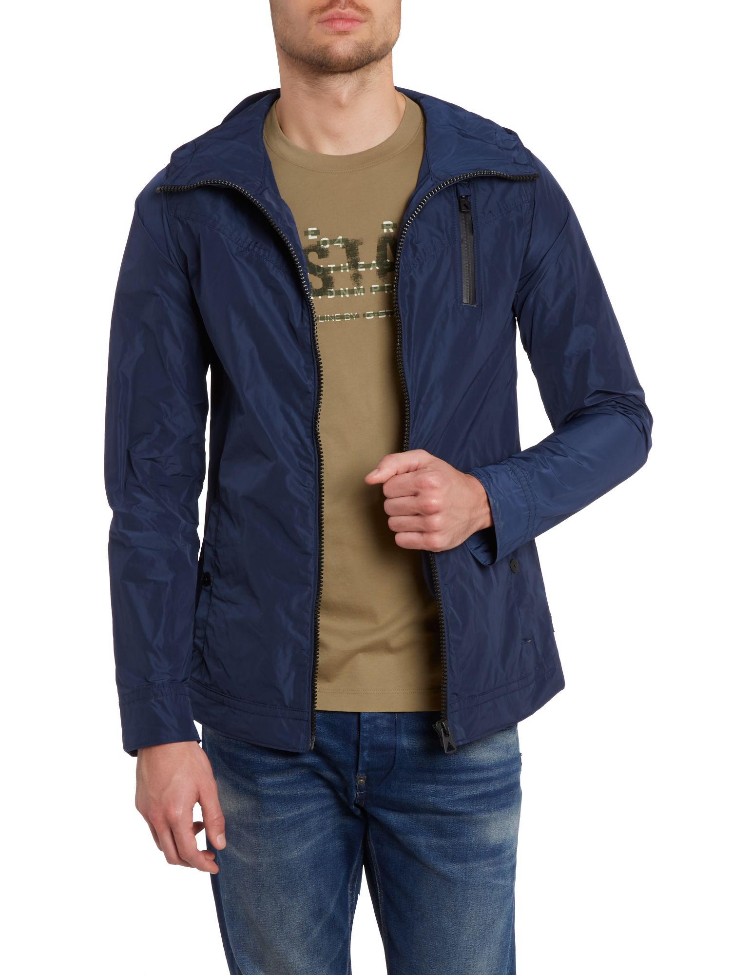 Hooded 3 pocket zip up nylon jacket