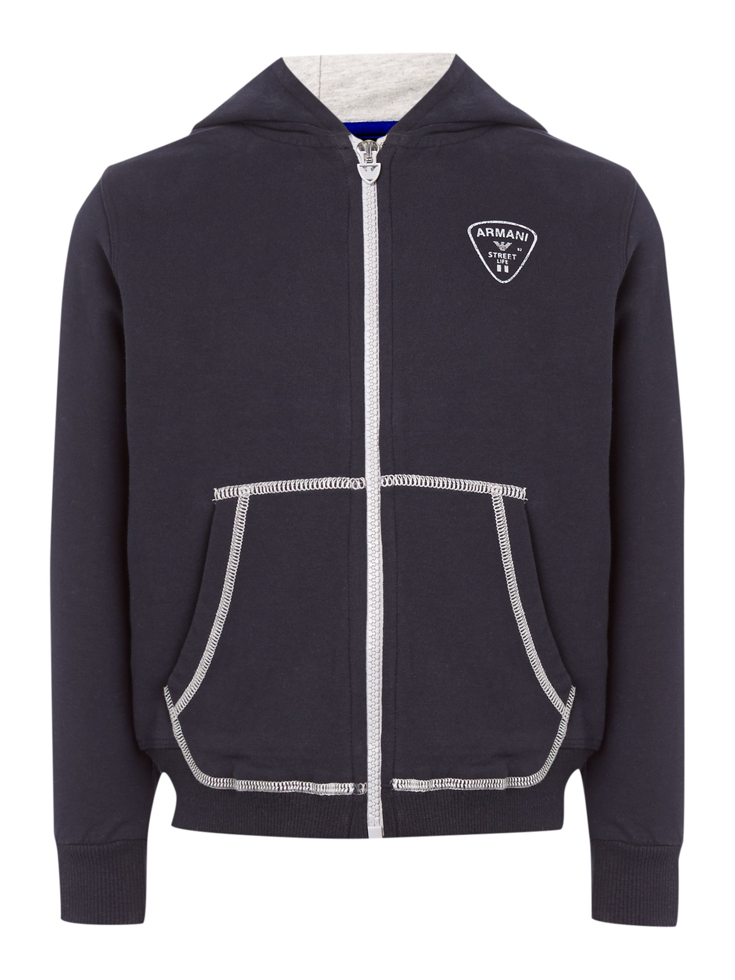 Boy`s logo zip through hooded sweater