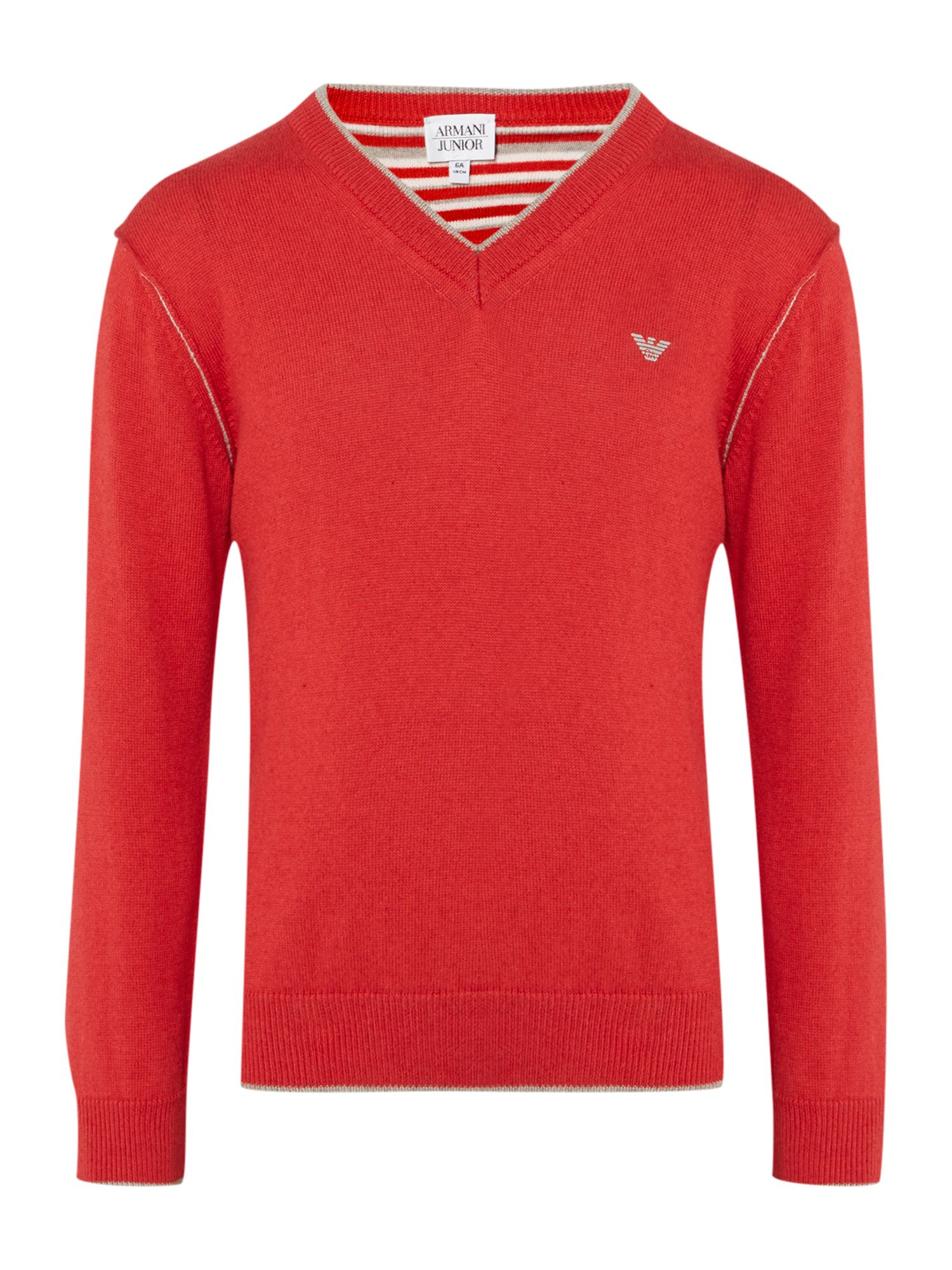 Boy`s v neck logo knitted jumper