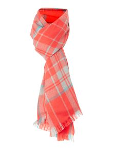 Large grid check scarf