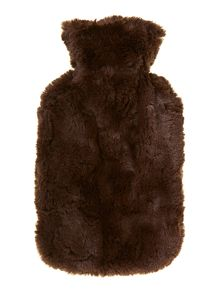Brown fur hot water bottle