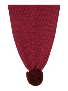 Tonal giant pom pom cable knit scarf