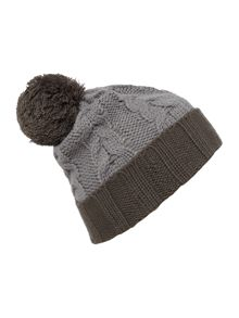 Tonal giant pom pom cable knit beanie
