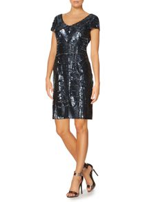 Untold Short beaded dress with cap sleeve