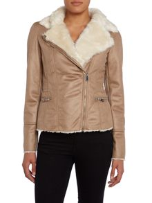Jacket with a faux fur collar