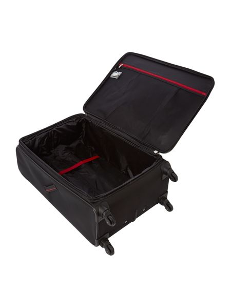 Delsey Axial black 4 wheels soft large suitcase