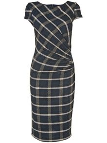 Kendal side ruched check dress