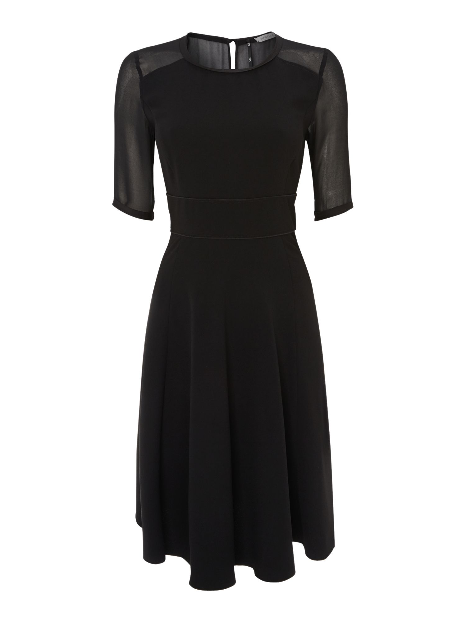 Perseo dress with sheer sleeve detail