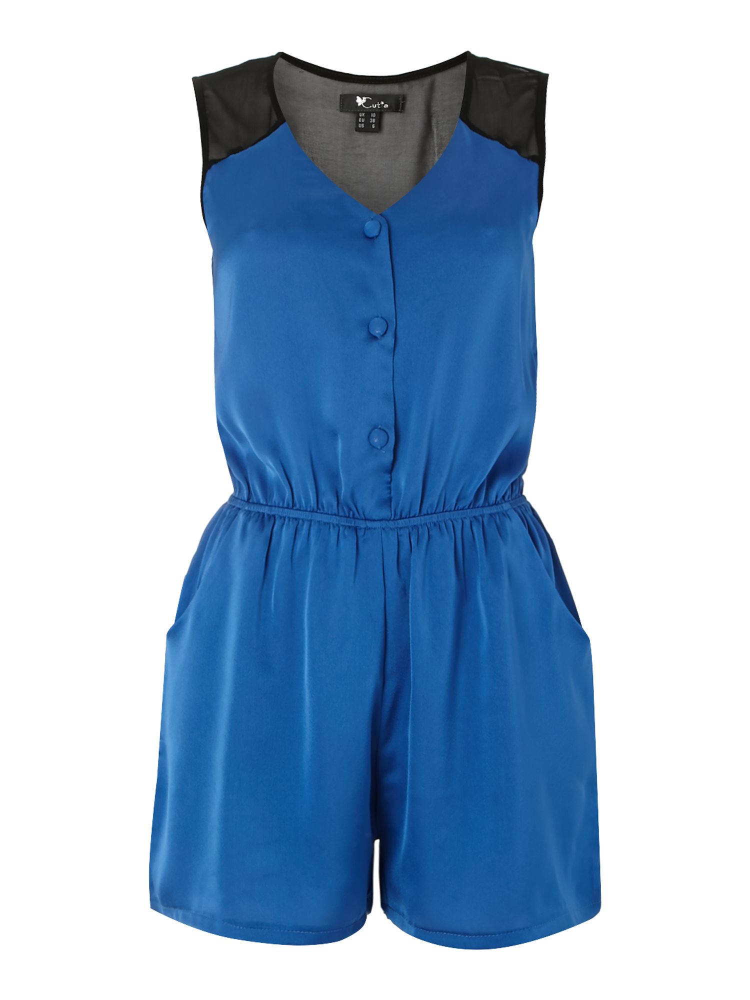 Sleeveless elastic waist playsuit