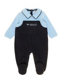 Baby boys all-in-one mock dungarees