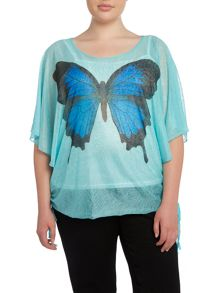 Butterfly print top with vest