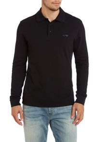 Long sleeve logo polo shirt
