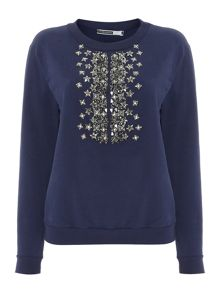 Embellished top sweater