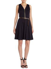 Sleeveless flared belted dress
