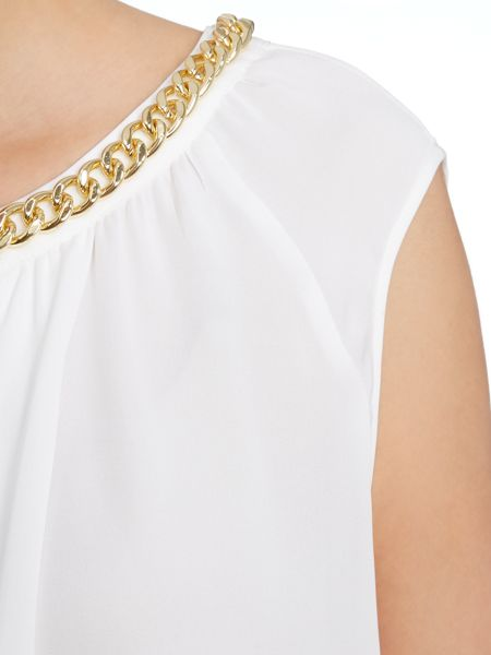 Michael Kors Sleeveless silk top with chain neck detail