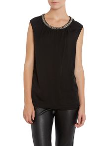 Sleeveless silk top with chain neck detail