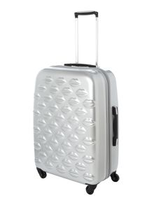 Lulu lips silver 4 wheel hard medium case