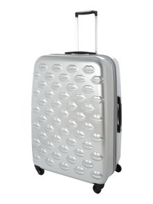 Lulu lips silver 4 wheel hard large case