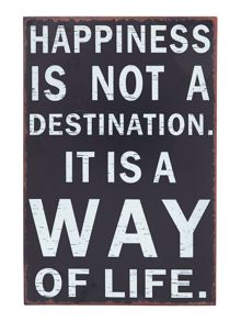 Happiness Metal Sign