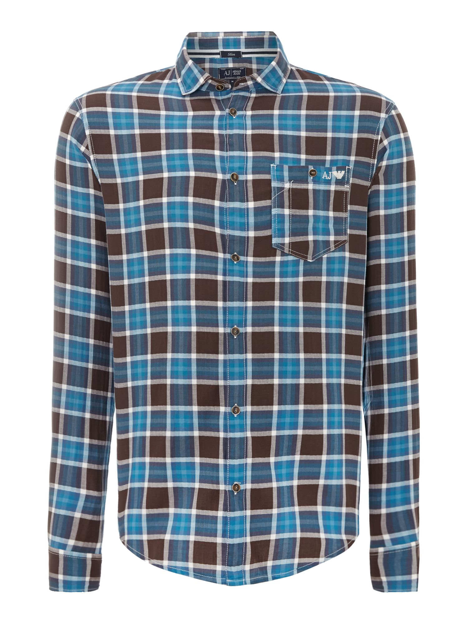 One pocket long sleeve check shirt