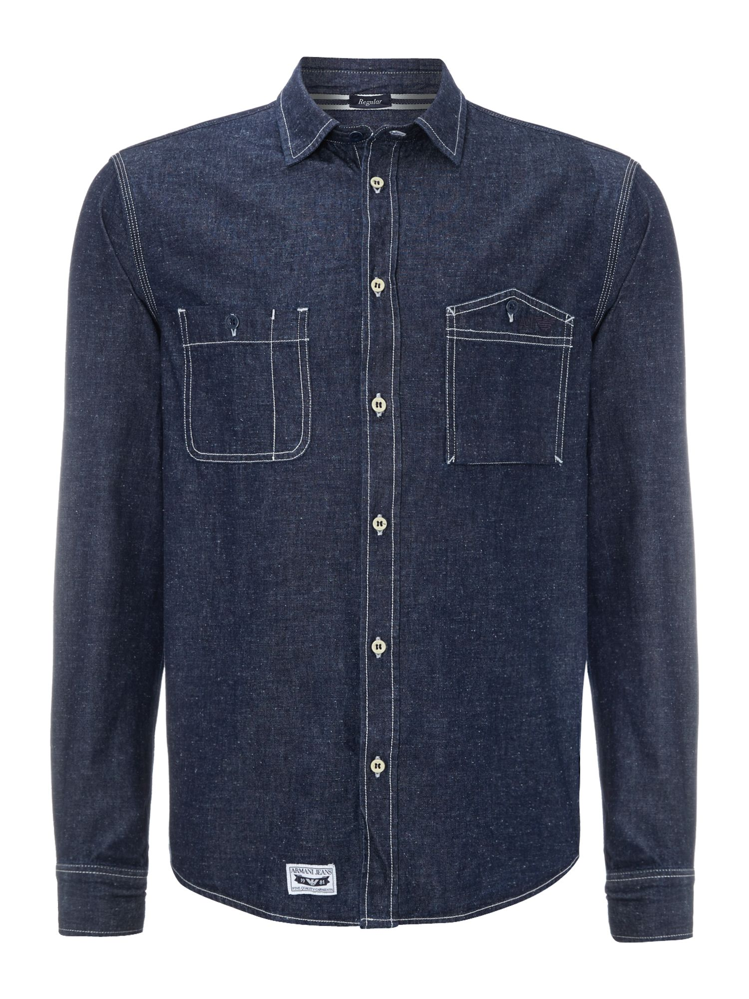 2 pocket flecked denim shirt