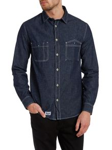 Armani Jeans 2 Pocket Flecked Denim Shirt