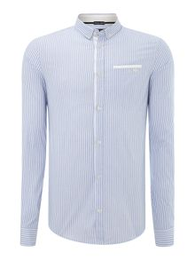 Armani Jeans Stripe Shirt With Contrast Pocket Detail