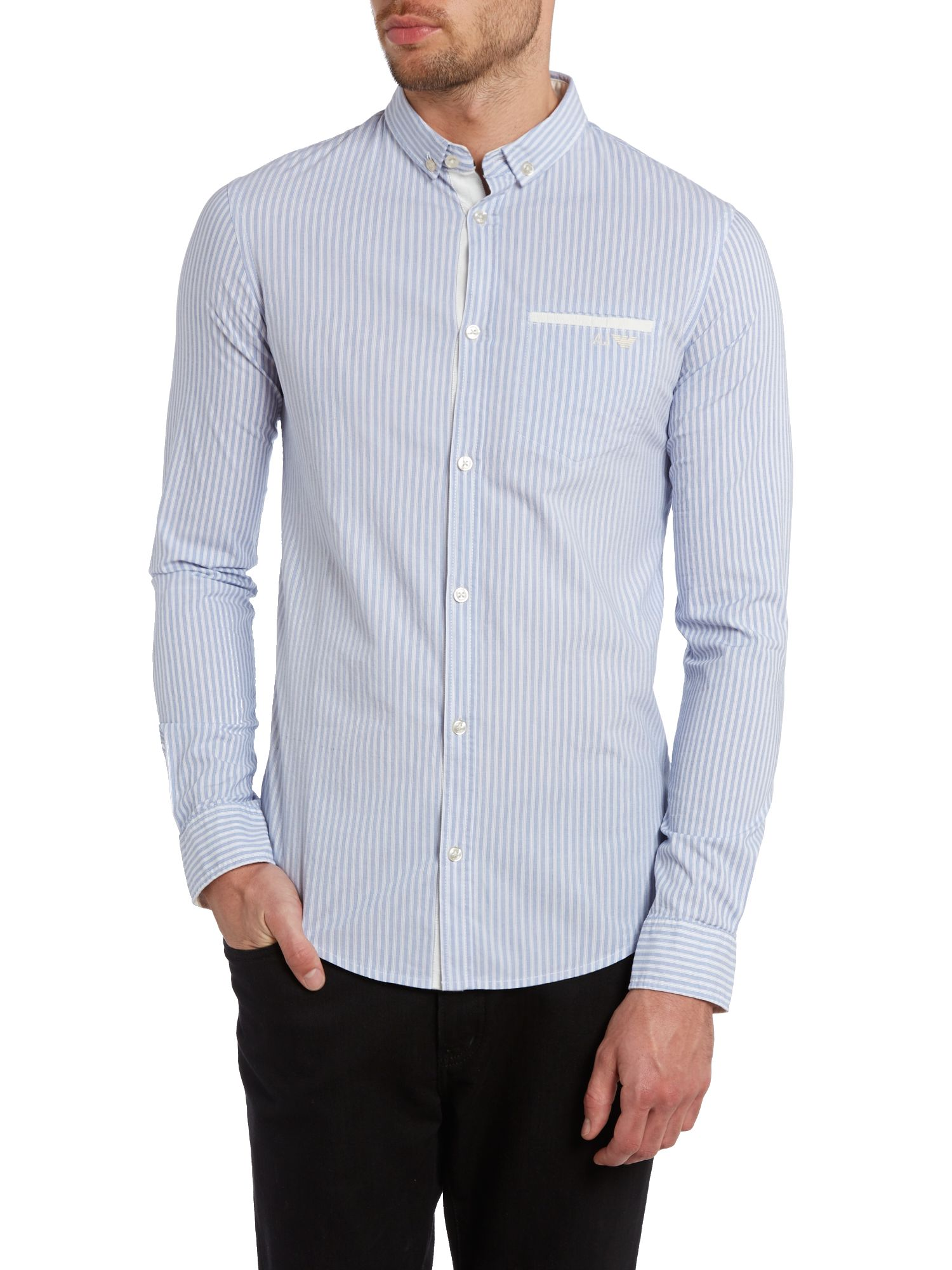 Stripe shirt with contrast pocket detail