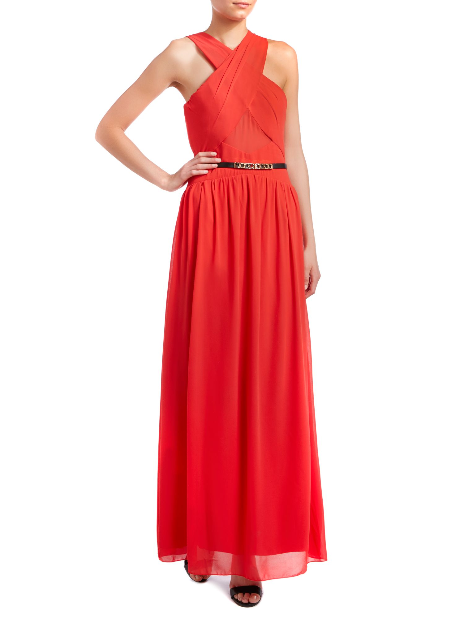 Sleeveless cross over top belted maxi