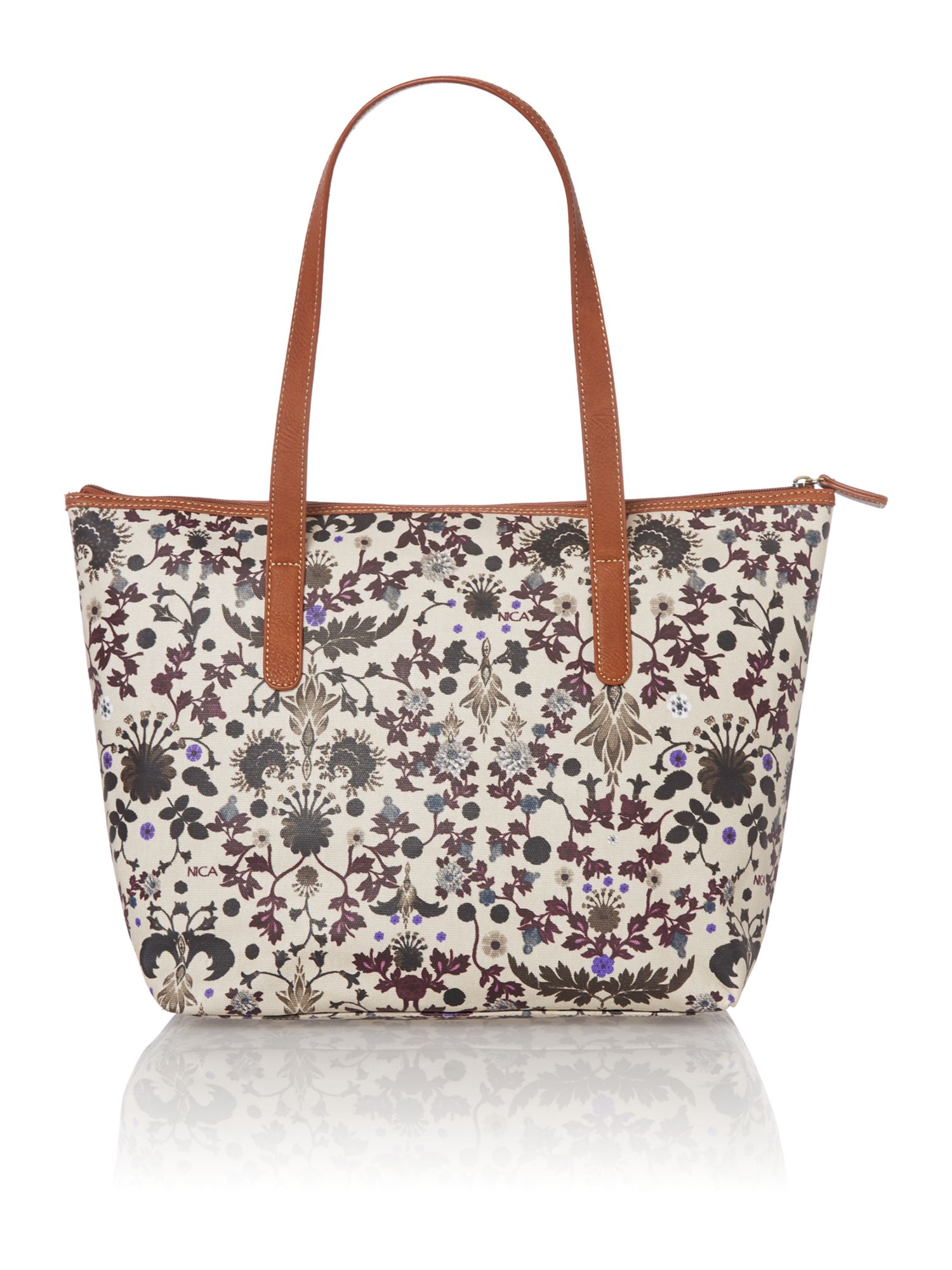 Viola multi coloured print tote bag