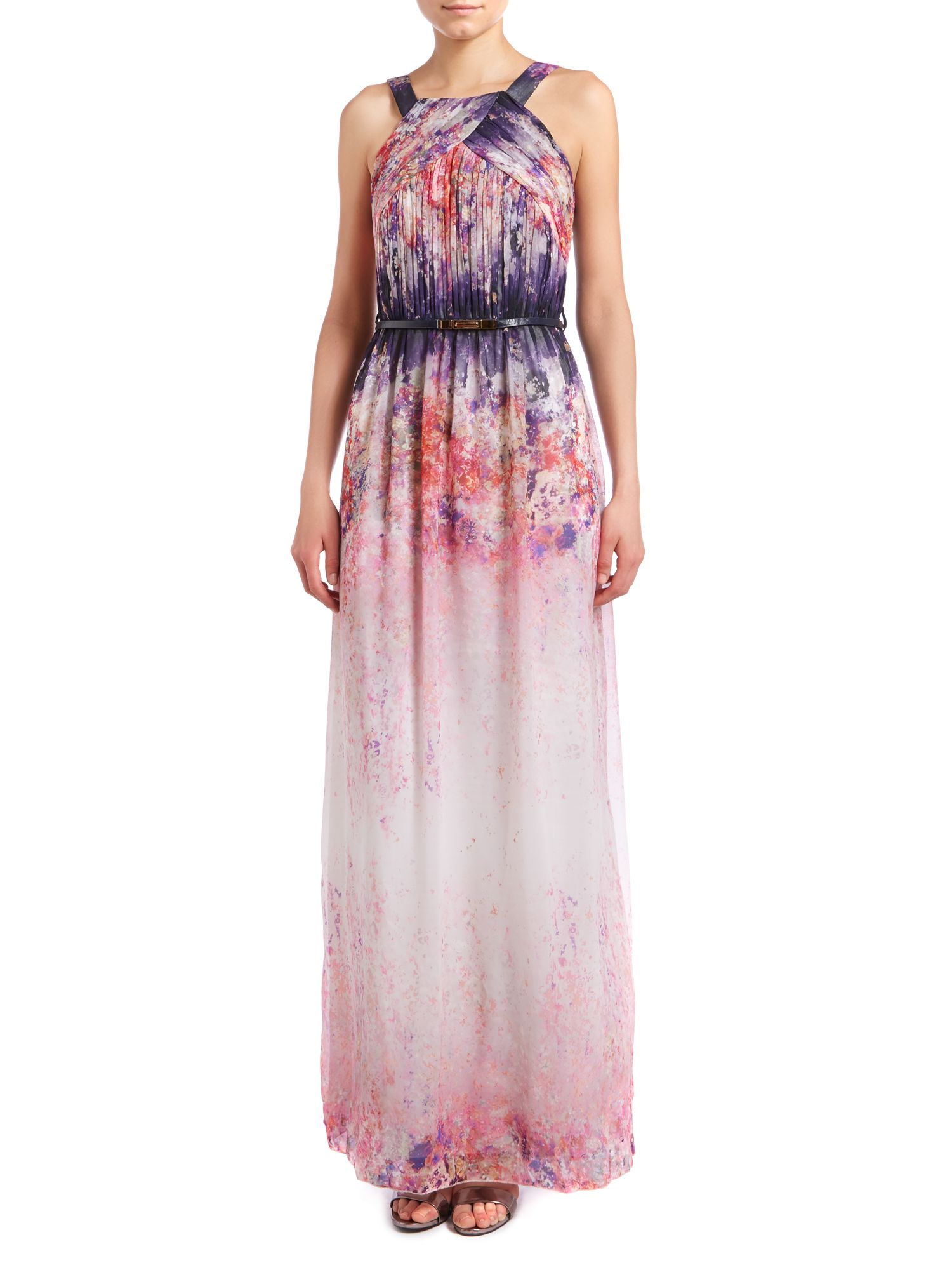 Sleeveless pleated top print maxi