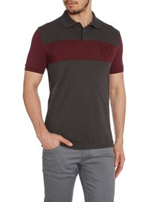 Stripe badge short sleeve polo shirt