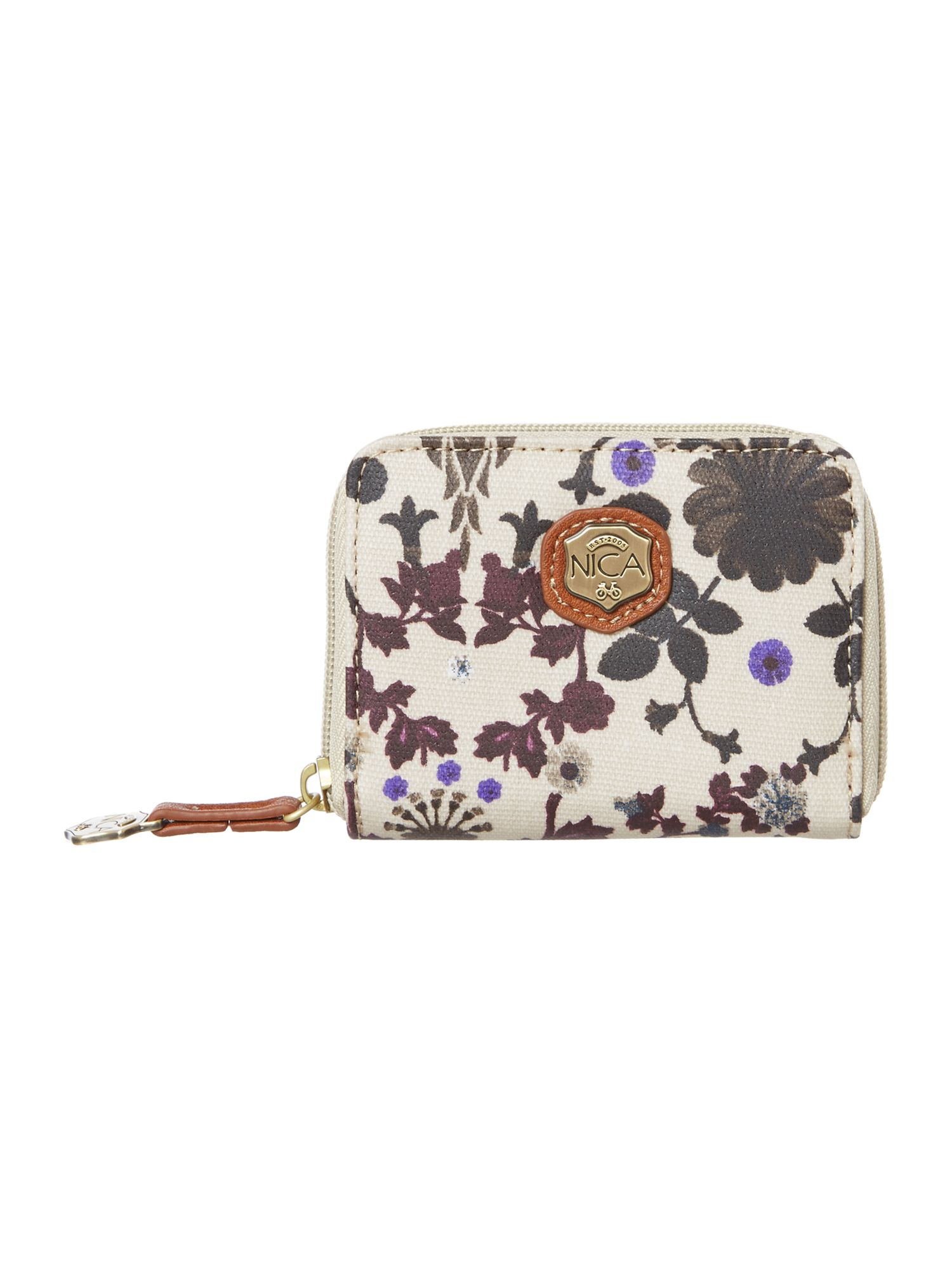 Mona multi coloured small zip around purse