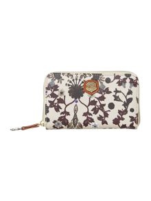 Mona multi coloured medium zip around purse