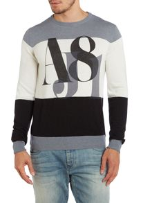 Crew neck large stripe logo jumper