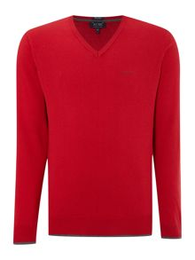 V neck wool cotton mix jumper
