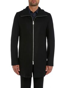 Mepko zip through funnel neck coat